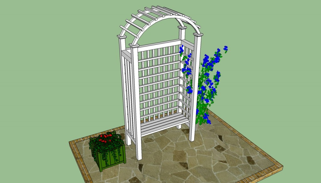 Arched arbor with bench design