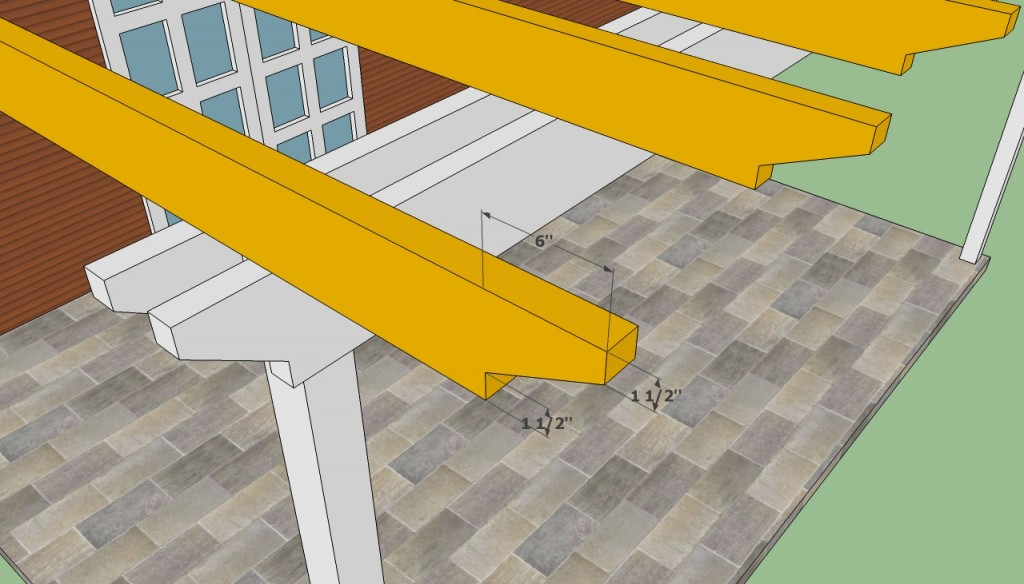 Attached pergola crossbeams cut ends