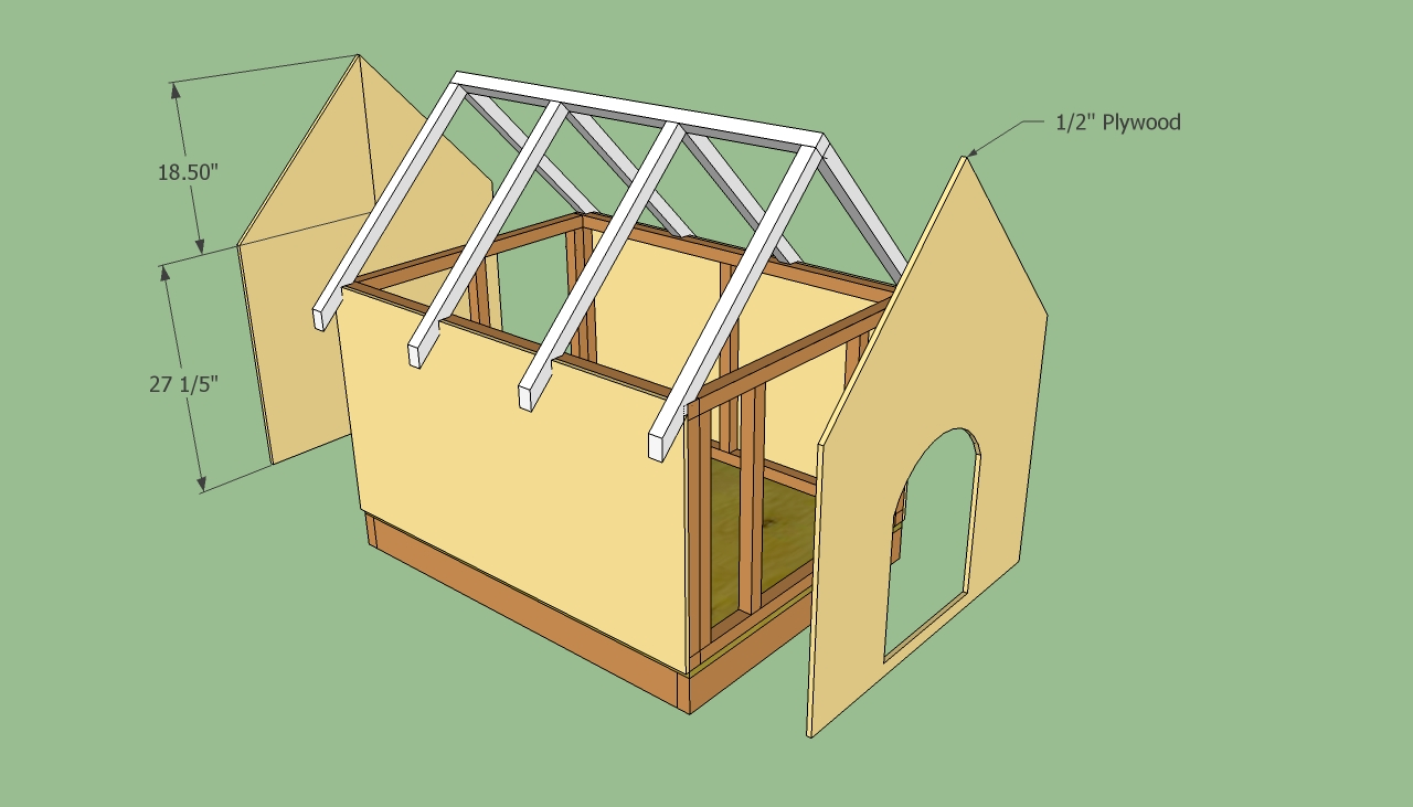 Dog house plans     HowToSpecialist   How to Build  Step by    Free doghouse plans  Attaching the plywood walls