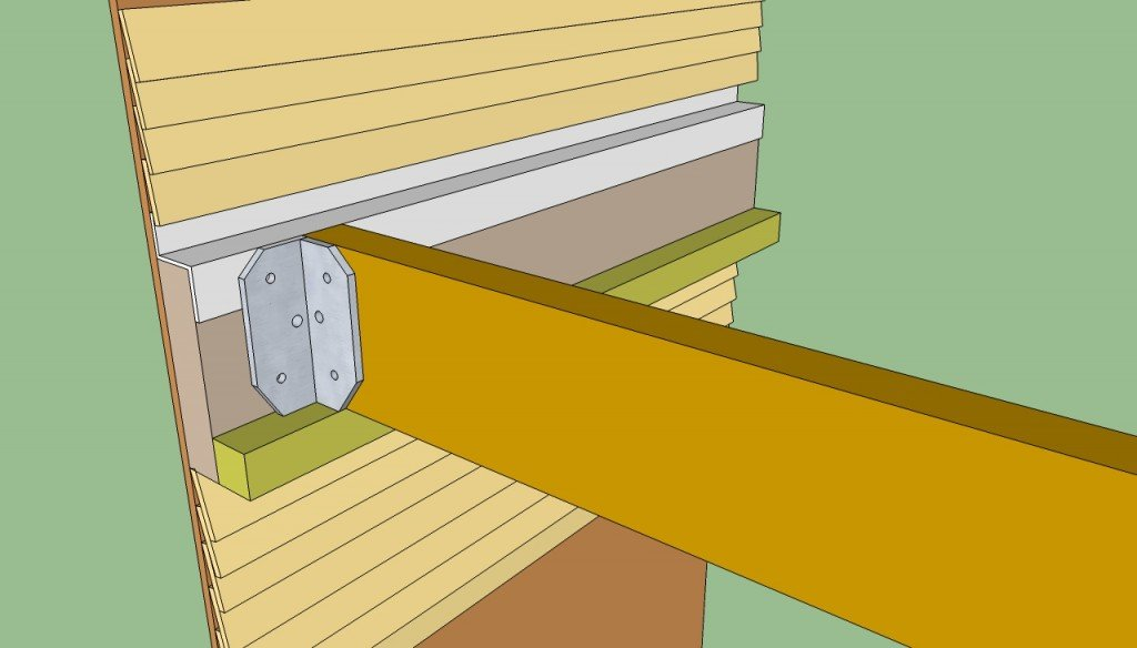 Building attached pergola ledger