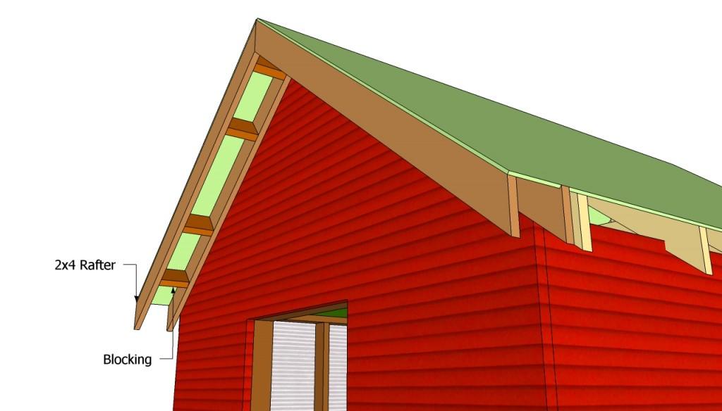 Garden shed front overhang