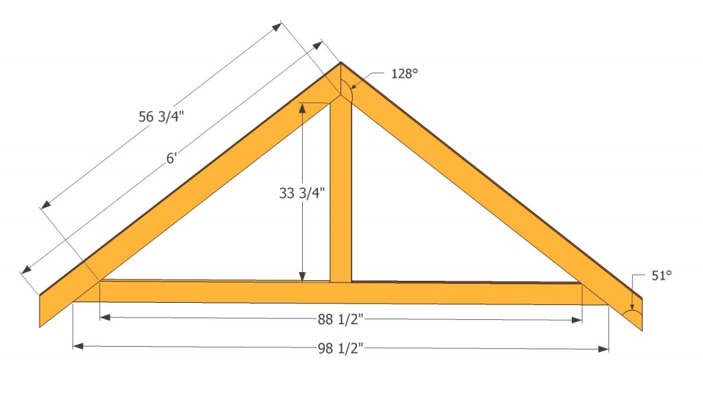 Garden shed plans free howtospecialist how to build for Order roof trusses online