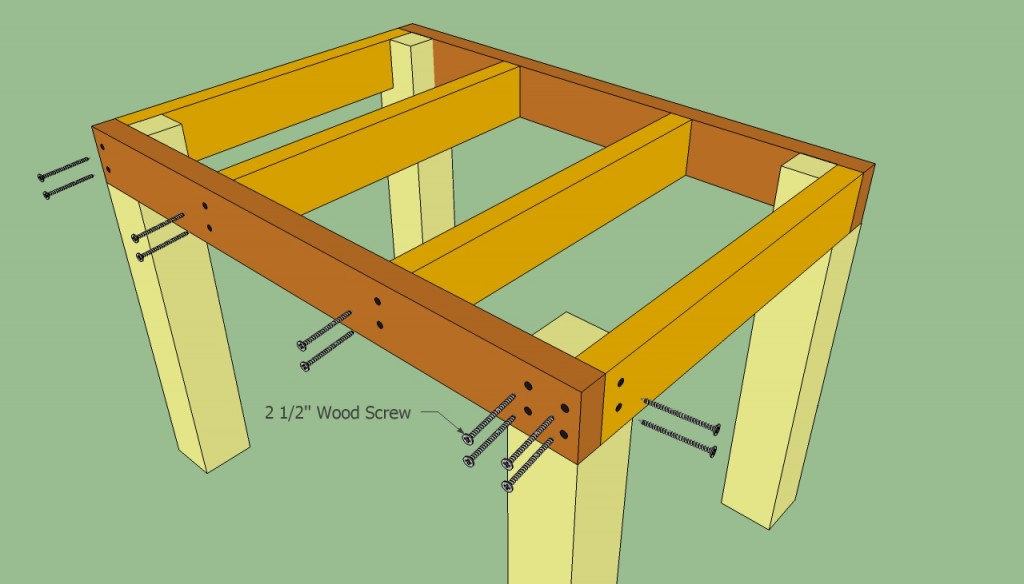 Securing the table with screws