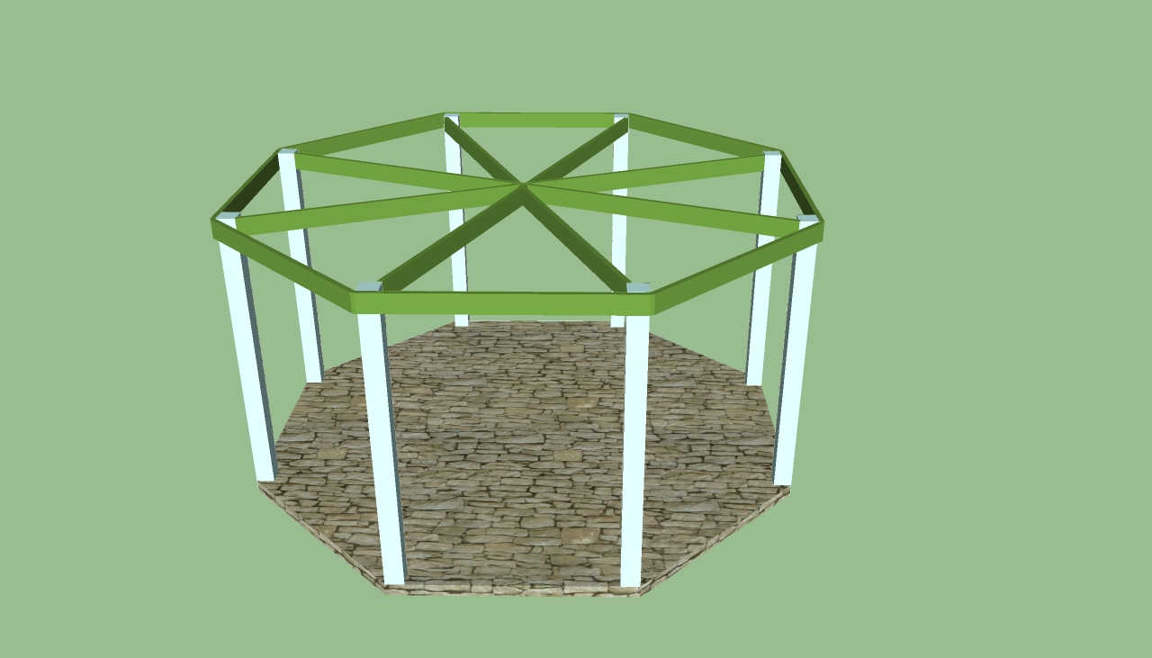Bench plan octagonal arbor plans for Octagon deck plans
