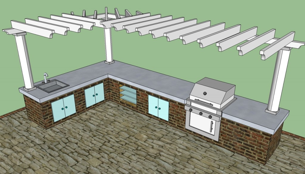 Outdoor kitchen pergola design