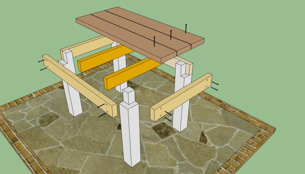 Patio table plans howtospecialist how to build step for Garden table designs wood