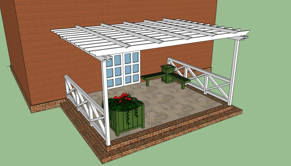 Pergola attached to house plans - Attached Pergola Plans |