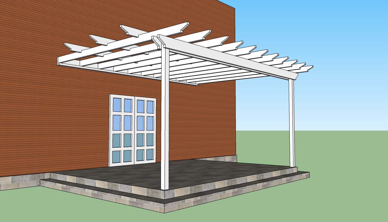attached pergola plans howtospecialist how to build. Black Bedroom Furniture Sets. Home Design Ideas