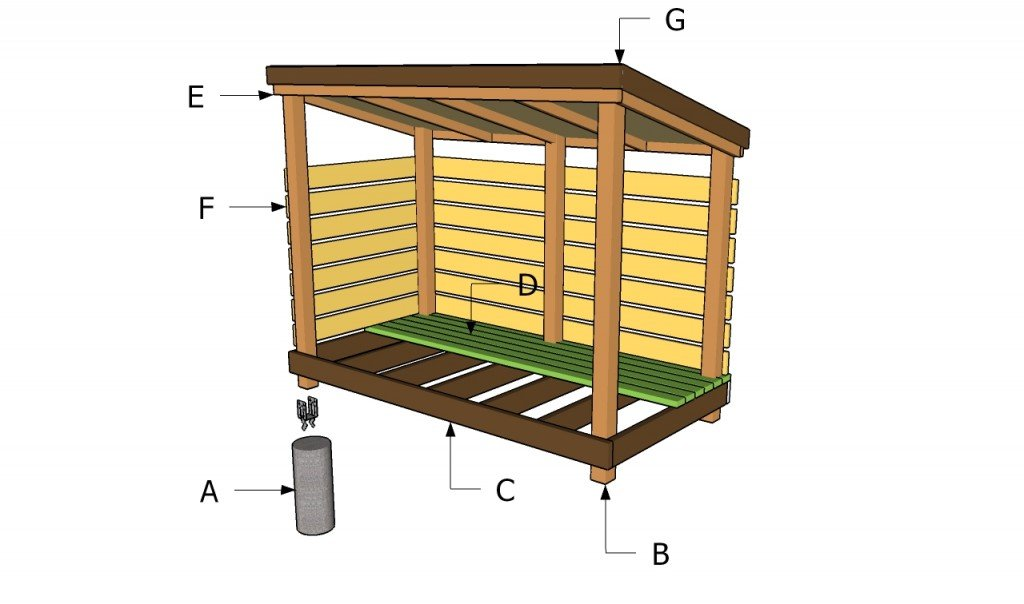 Shelter Building Wood Shed : Firewood storage shed plans howtospecialist how to