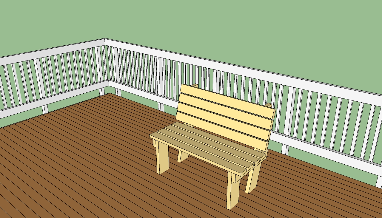 Bench wood free wood deck bench plans for Patio plans free