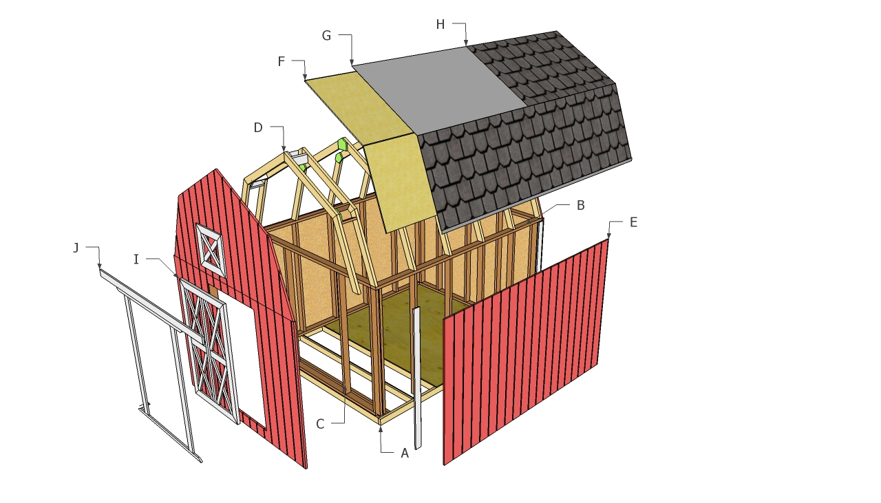 Barn shed plans howtospecialist how to build step by for Diy barn plans