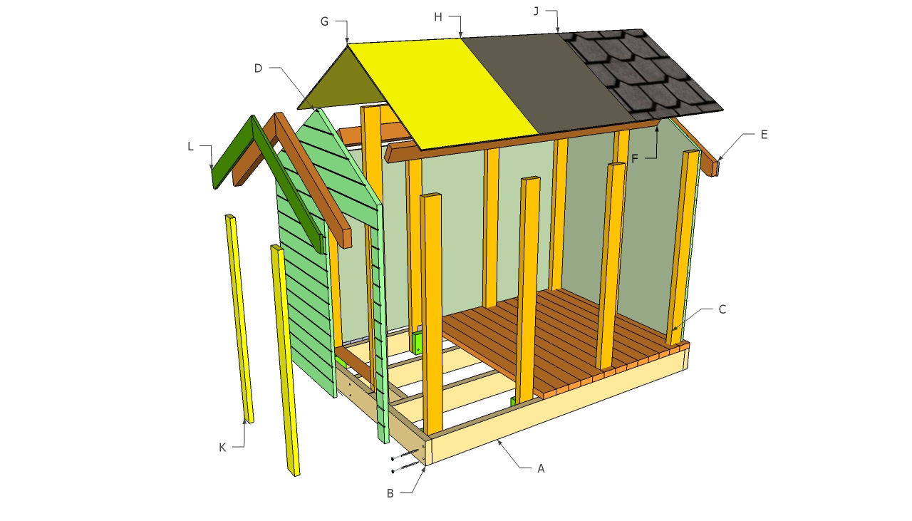 Playhouse plans free howtospecialist how to build for Simple outdoor playhouse plans