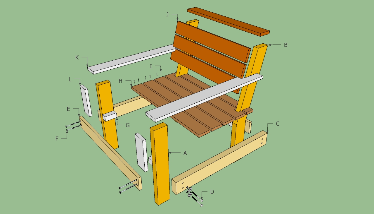 Outdoor chair plans howtospecialist how to build step for Patio furniture designs plans