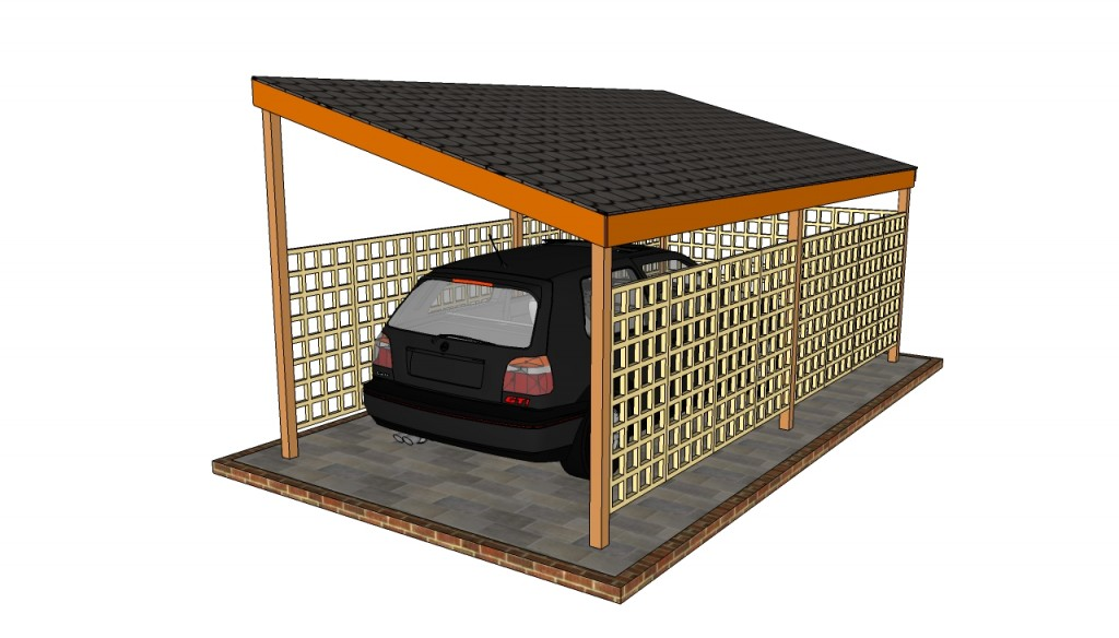 Wooden carport plans howtospecialist how to build for Trellis carport