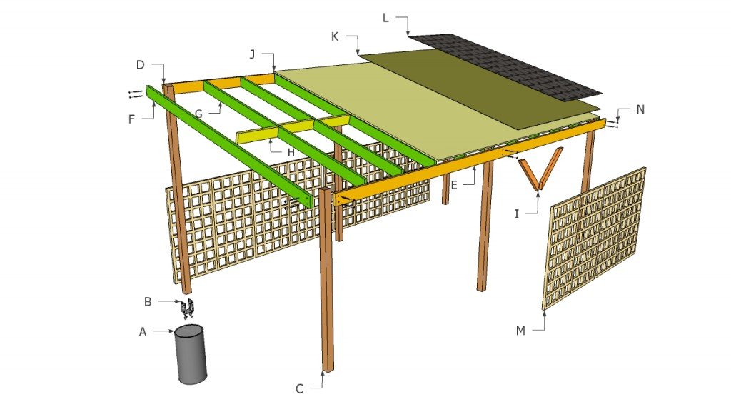 Wooden carport plans howtospecialist how to build for Carport blueprints