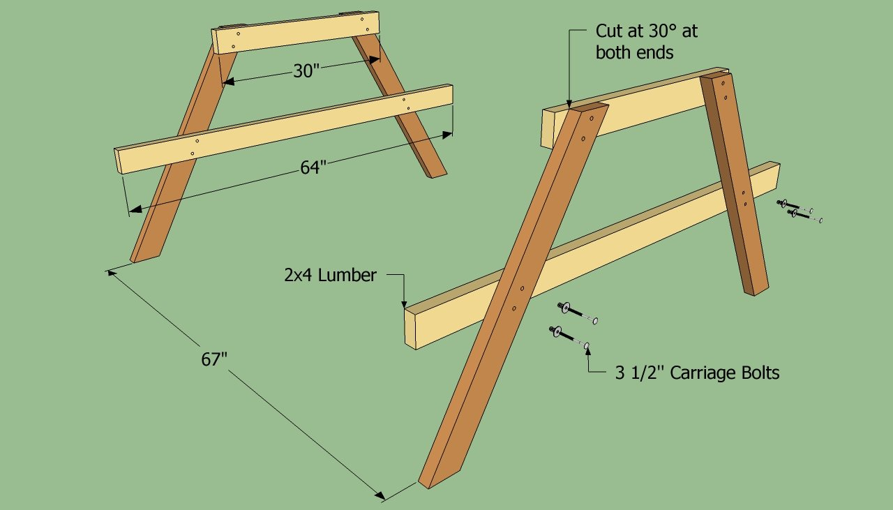 Building the legs of the picnic table