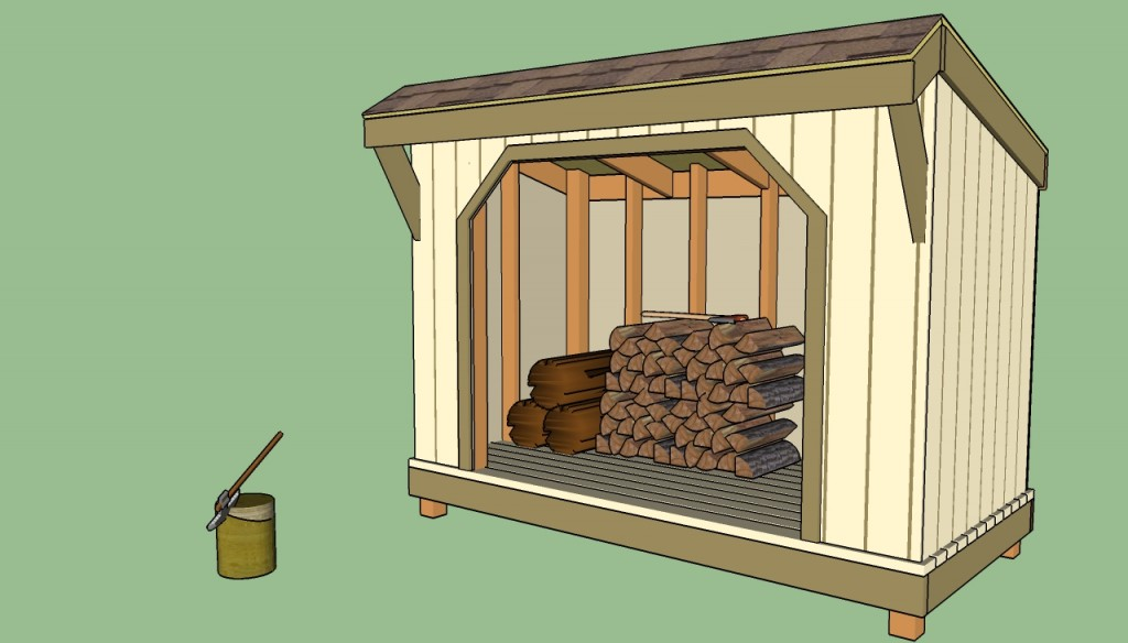 Firewood shed with front overhang