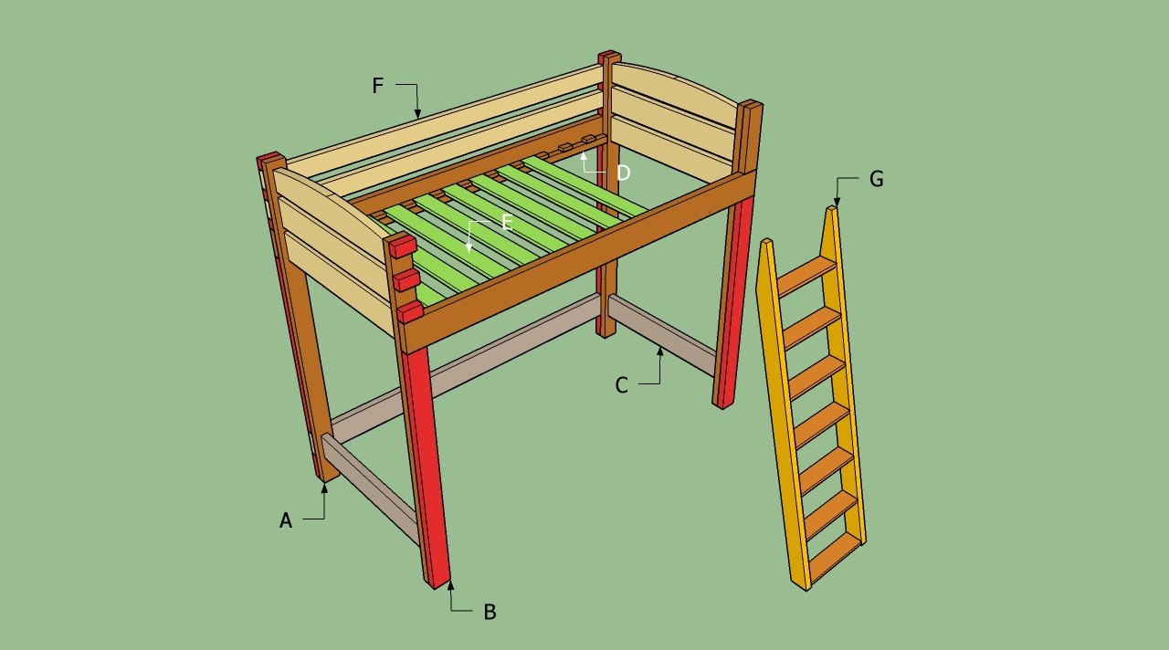building plans a loft bed with desk