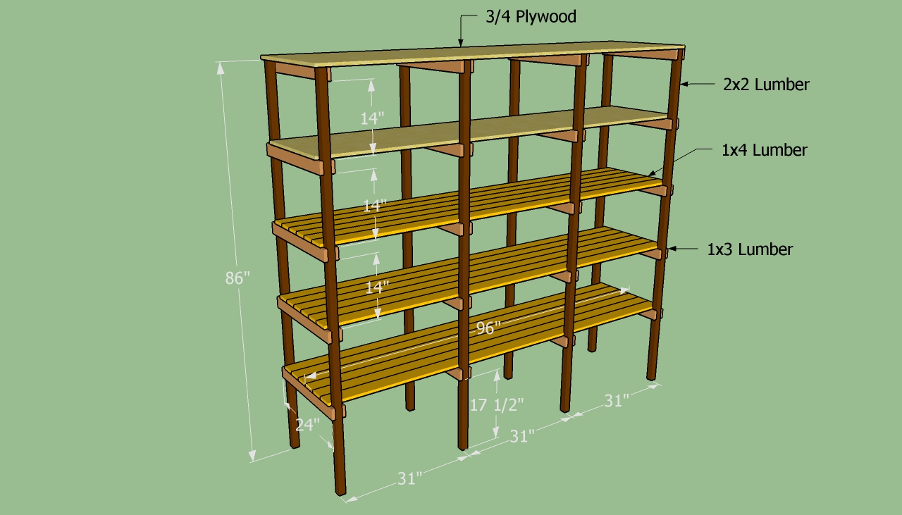 Building wooden storage shelves