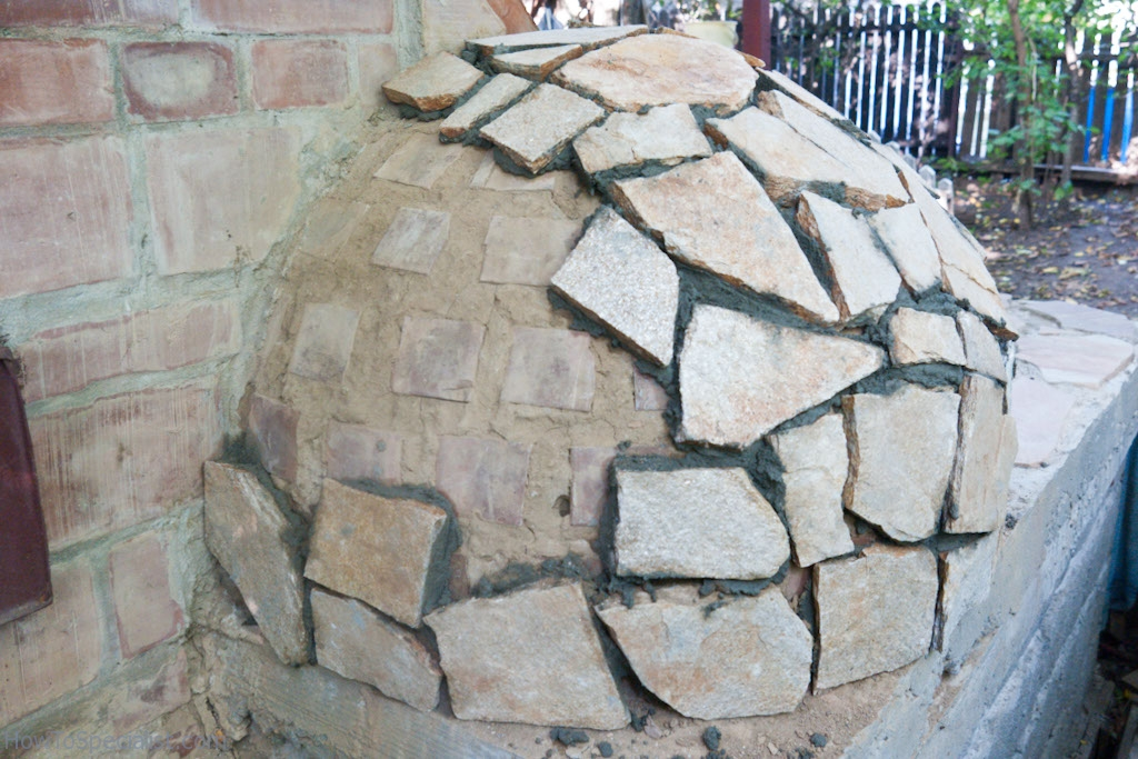 Covering the dome with stone