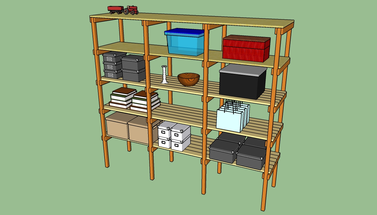 build wood storage shelves