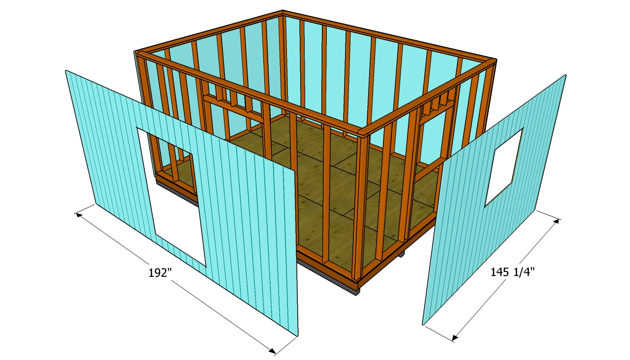 Attaching the exterior siding for 12x16 kitchen plans