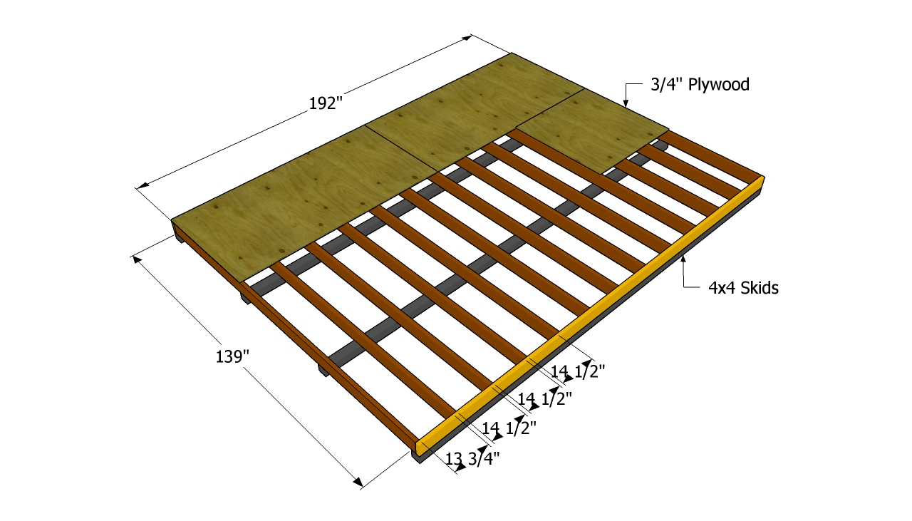 How to build a 12x16 shed howtospecialist how to build for Floor framing plan