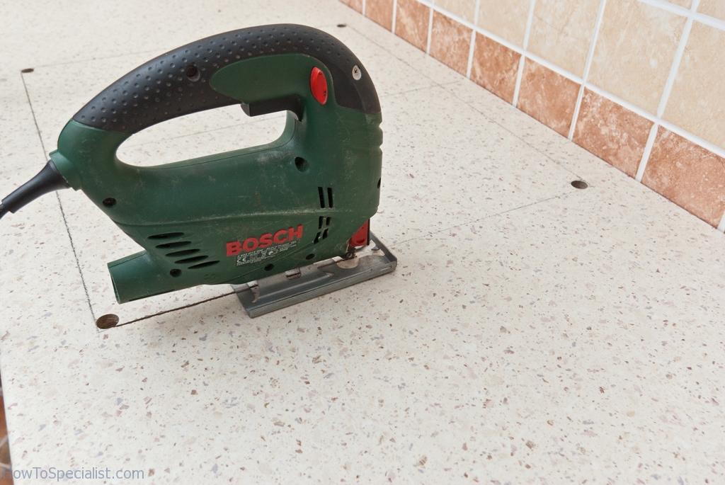Cutting a hole in laminate countertop