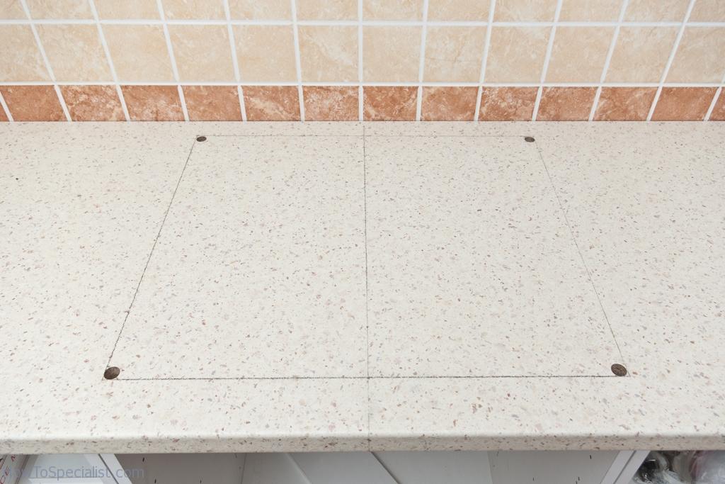Drilling starting holes trough laminate countertop