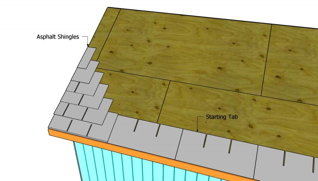 Installing asphalt shingles on the shed