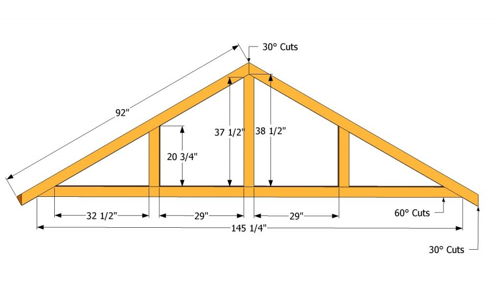 How to build a roof for a 12x16 shed howtospecialist for Premade roof trusses