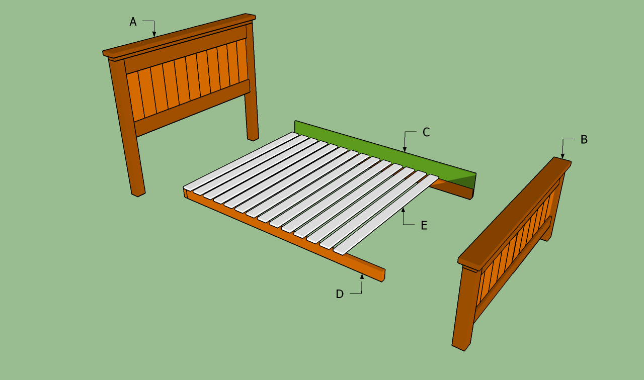 Diy wood bed frame plans - Building A Queen Size Bed