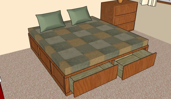 Beautiful King size storage bed plans