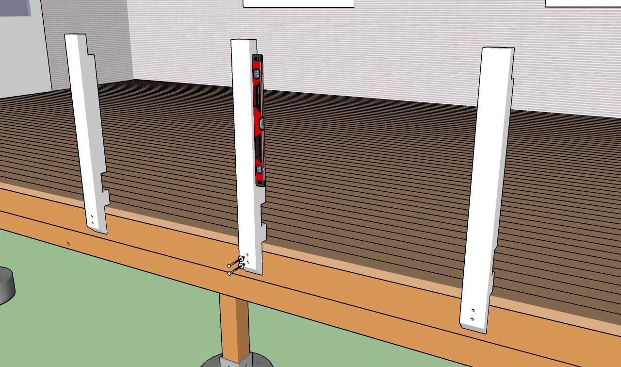 Building deck railings howtospecialist how to build step by attaching the posts baanklon Choice Image