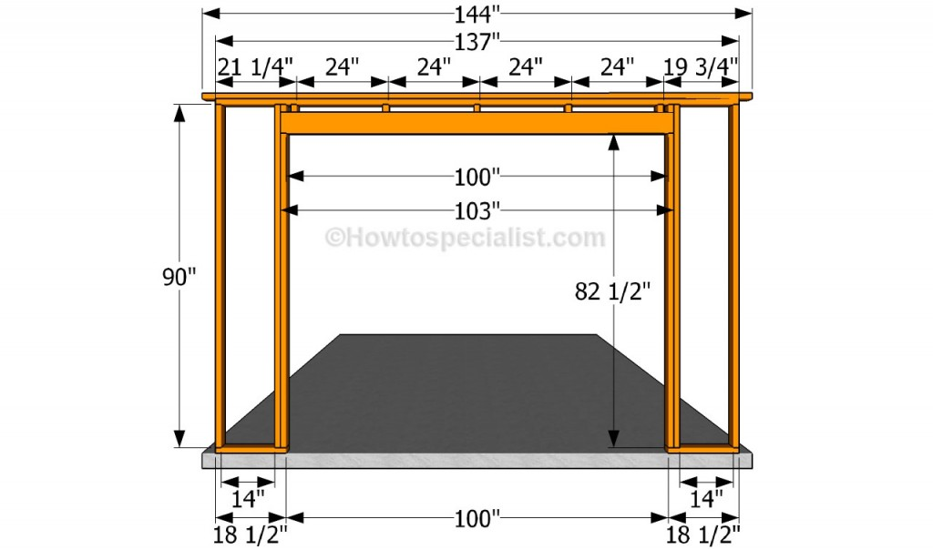 How to build a detached garage howtospecialist how to for Garage door framing detail
