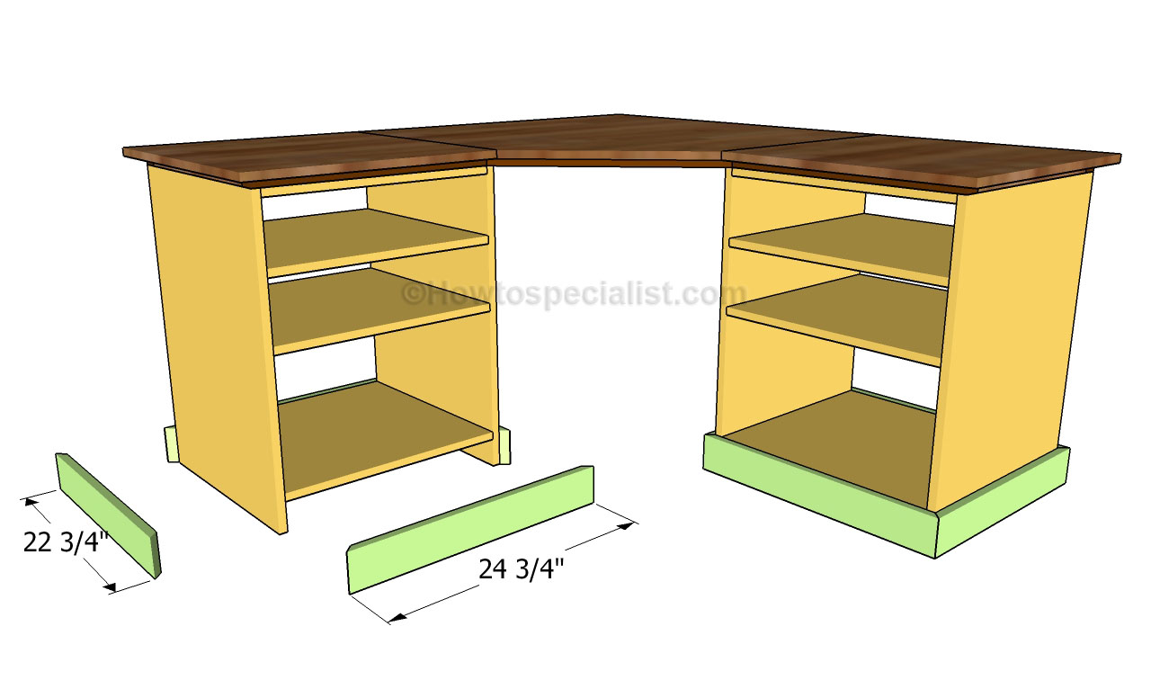 how to build a corner desk howtospecialist how to build step by step diy plans. Black Bedroom Furniture Sets. Home Design Ideas