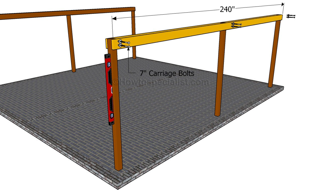 how to build a double carport howtospecialist how to build attaching the support beams