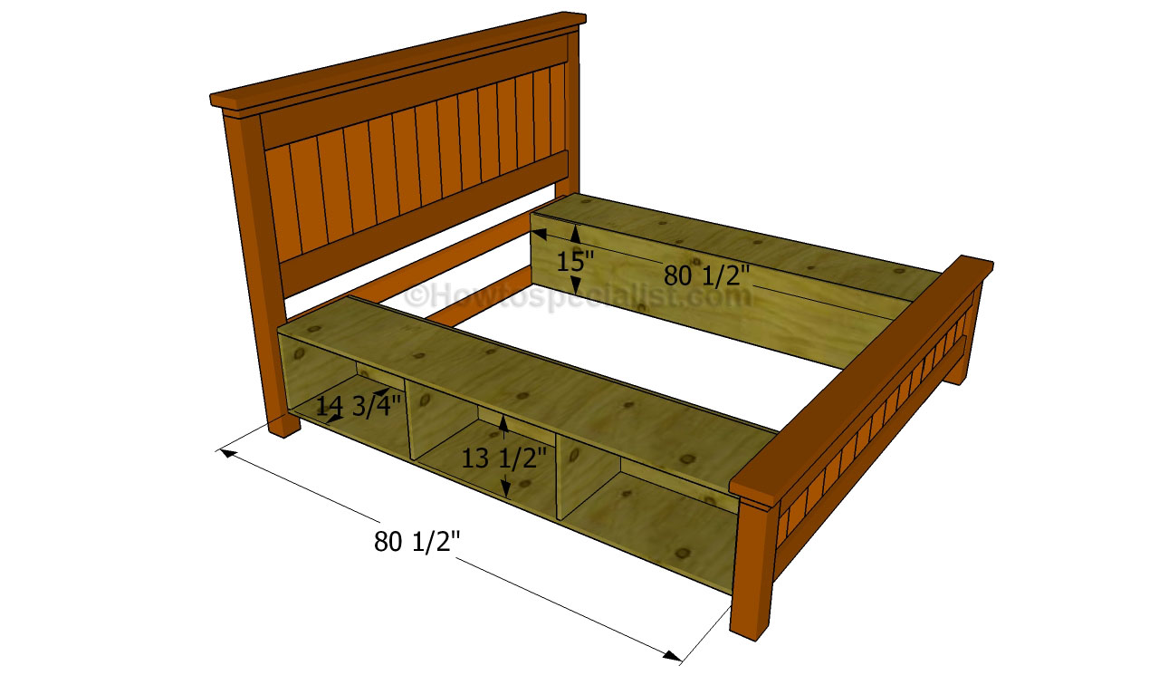Building a bed frame with drawers plans dog breeds picture - How to build a queen size bed frame with drawers ...