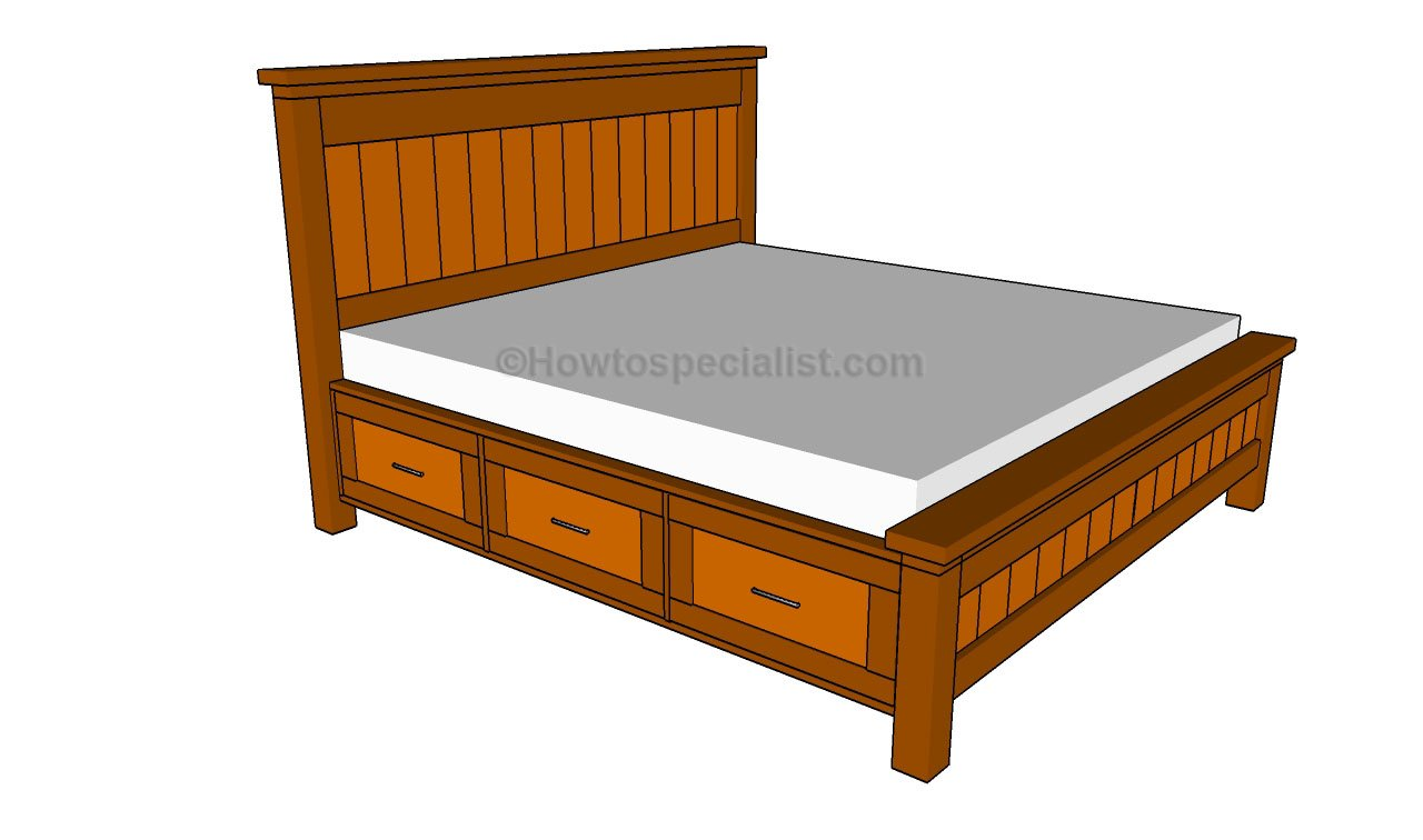 ... bed frame with drawers Queen size storage bed plans Storage Twin Bed