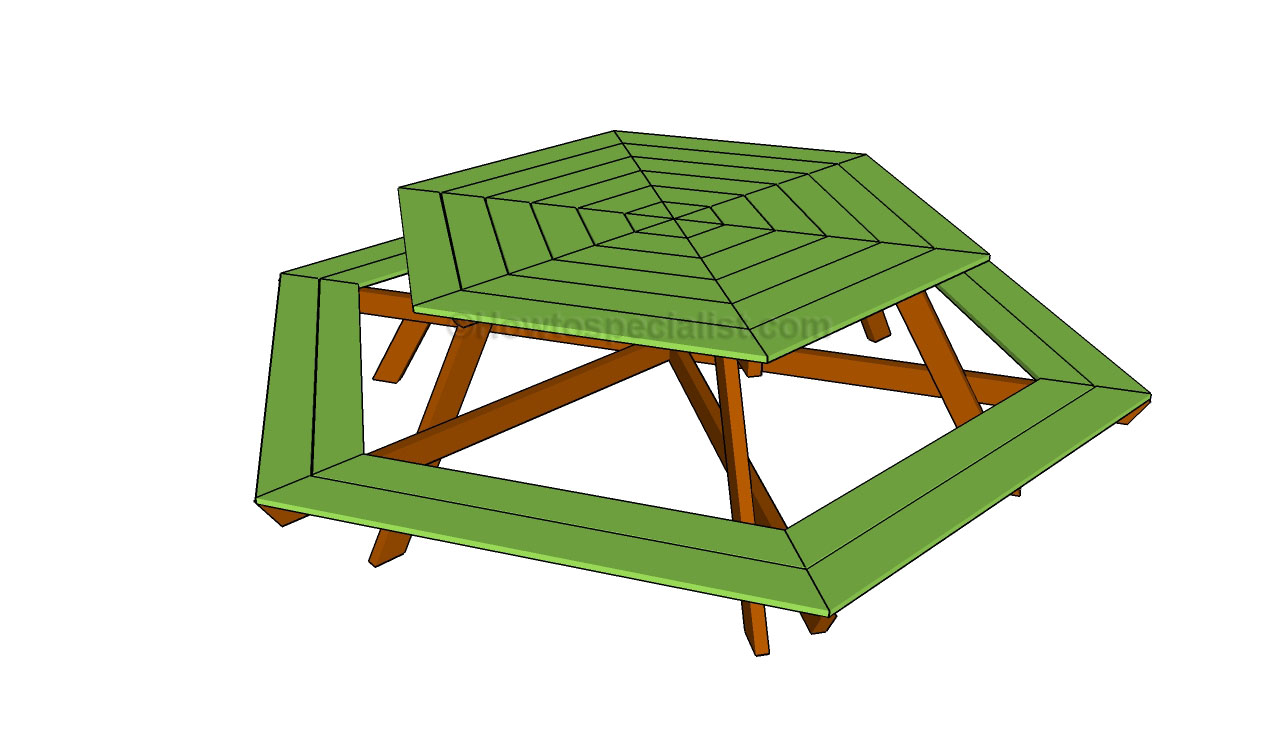 hexagon picnic table plans hexagon picnic table plans free plans ...