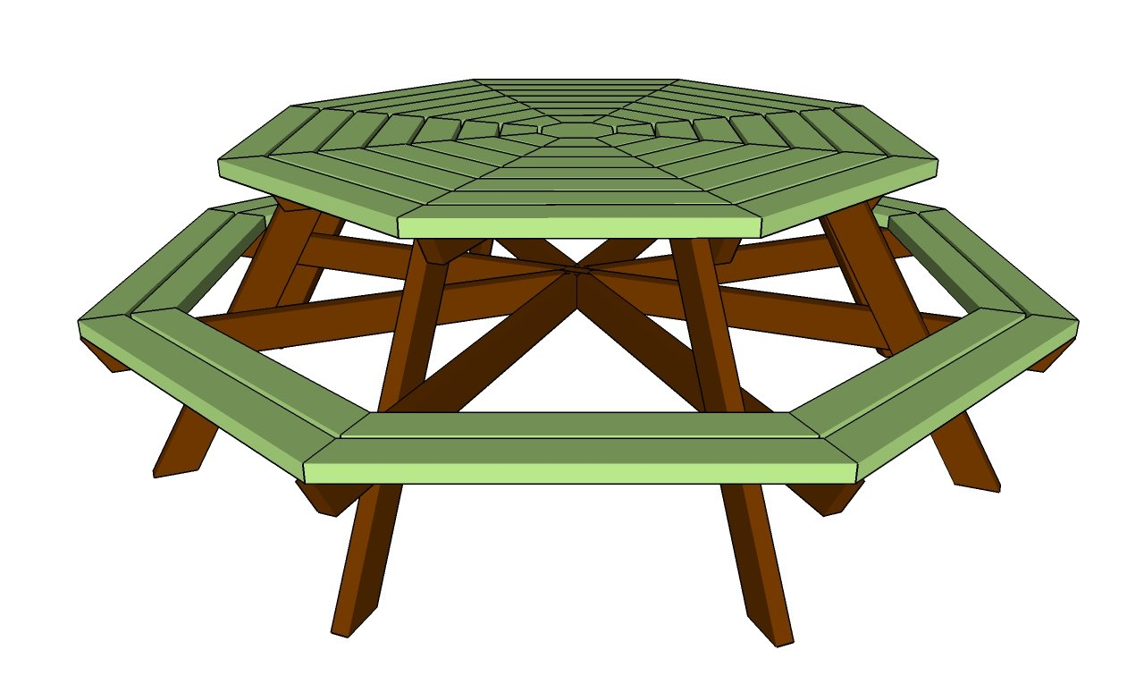 octagon picnic table How to build a picnic table with separate benches ...