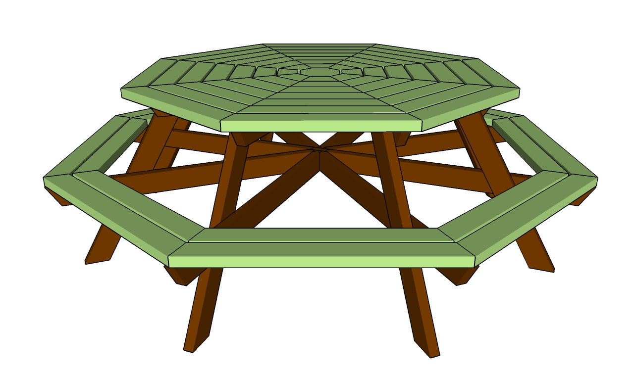 Custom Beginner Detail Composite Octagon Picnic Table Plans - Composite octagon picnic table