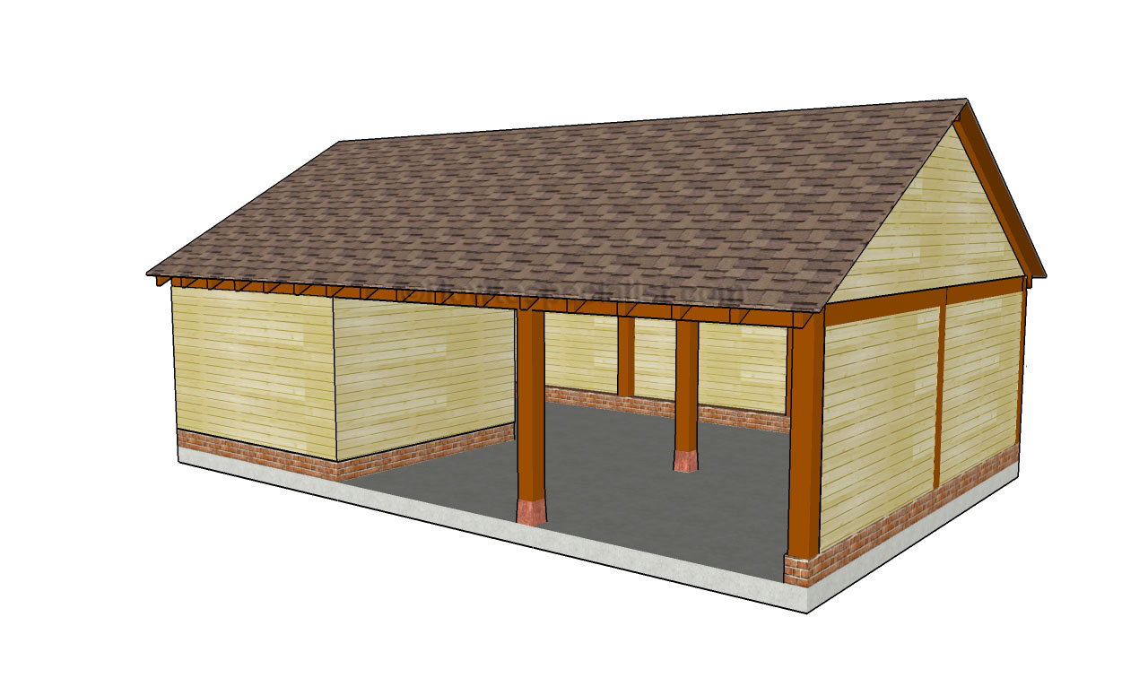 Carport with storage shed plans woodplans for Garage with carport designs