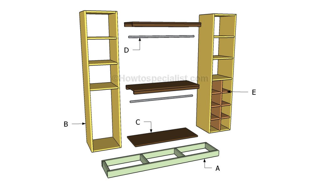 build free standing shelves plans