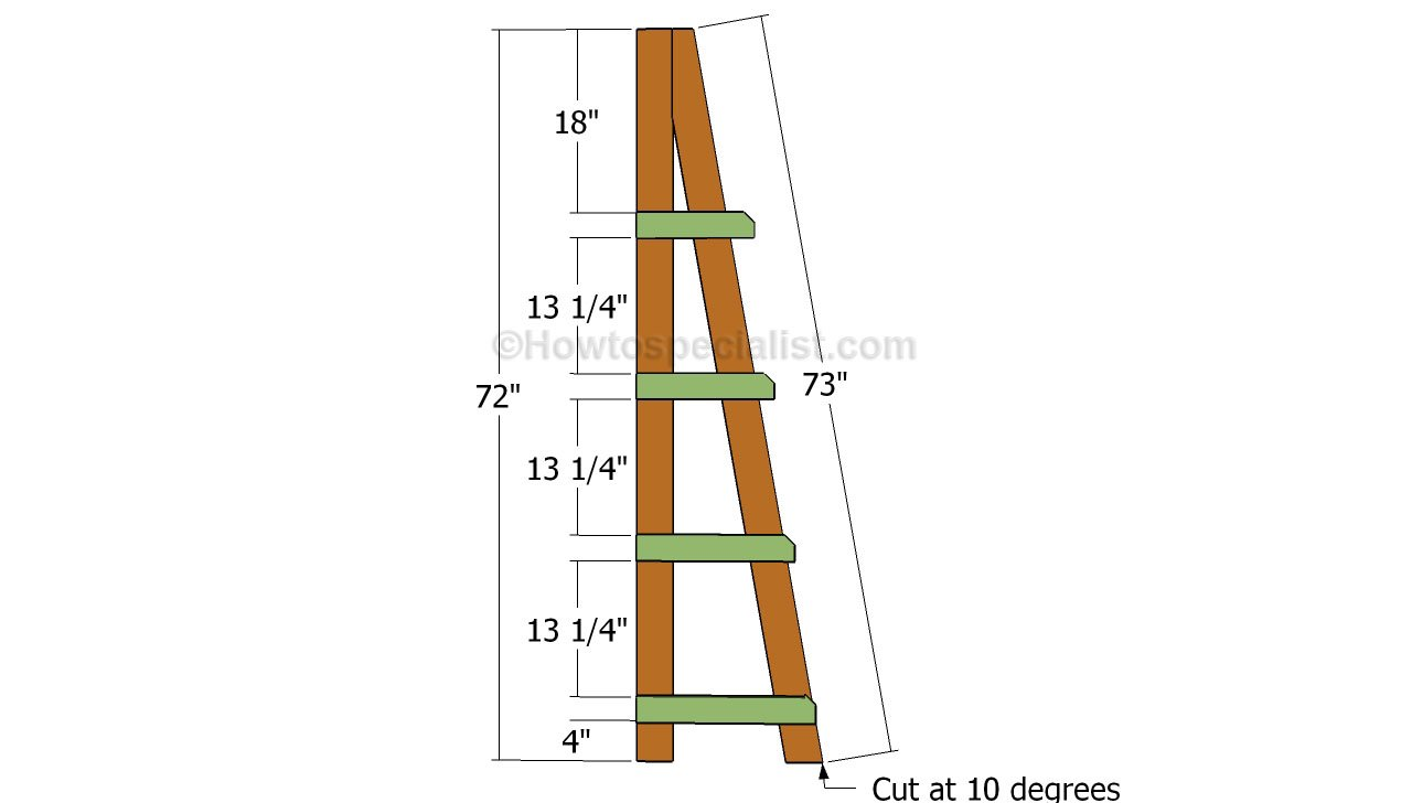 size 40 a0d7d 78f11 Ladder shelves plans | HowToSpecialist - How to Build, Step ...