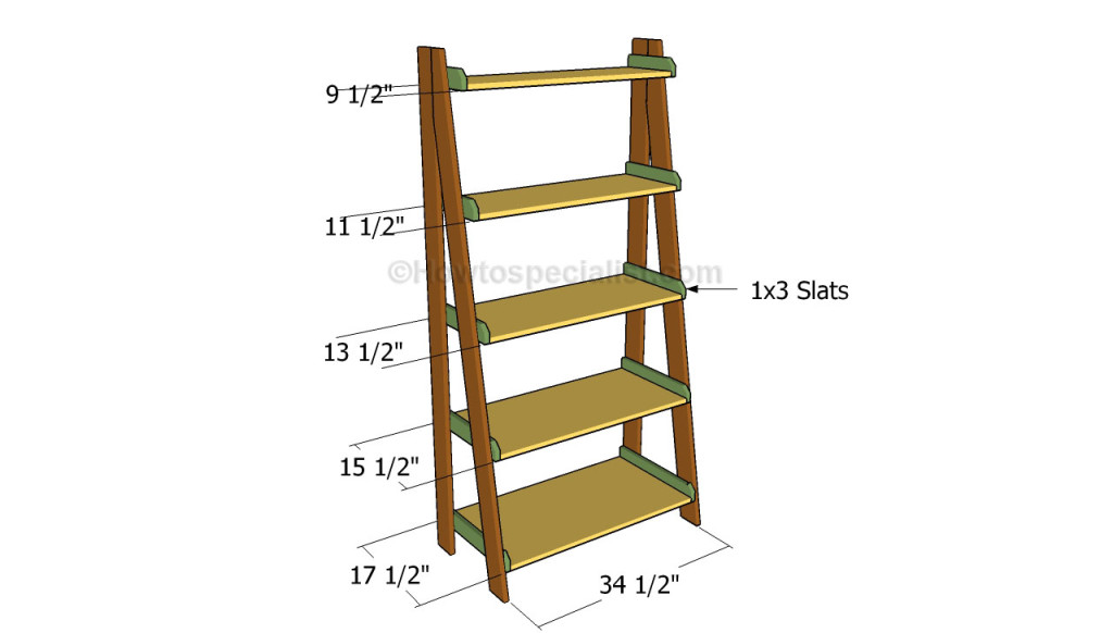 Ladder shelves plans | HowToSpecialist - How to Build, Step by Step DIY Plans