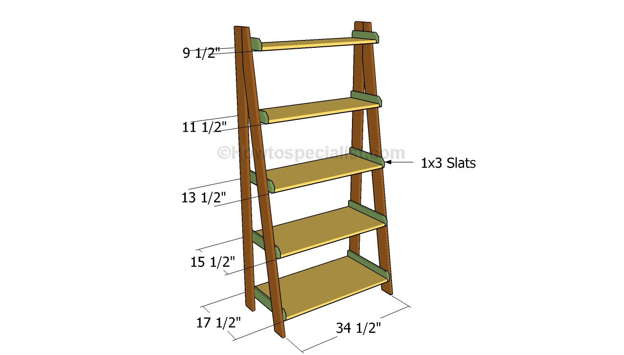 Ladder Bookshelf Blueprints