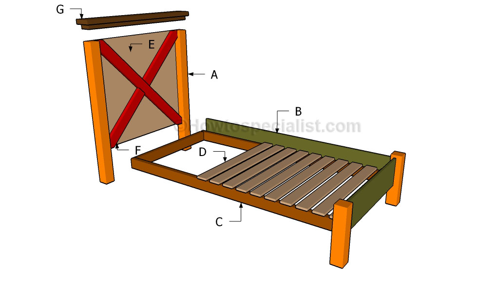 Twin Size Bed Frame Plans Howtospecialist How To Build Step By