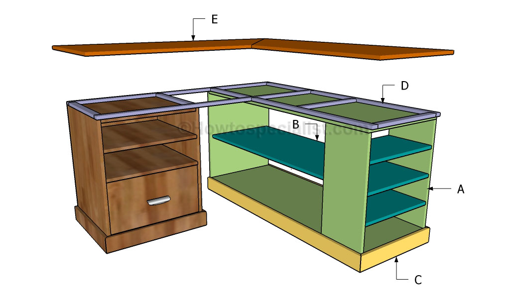 corner desk plans howtospecialist how to build step by step diy plans. Black Bedroom Furniture Sets. Home Design Ideas