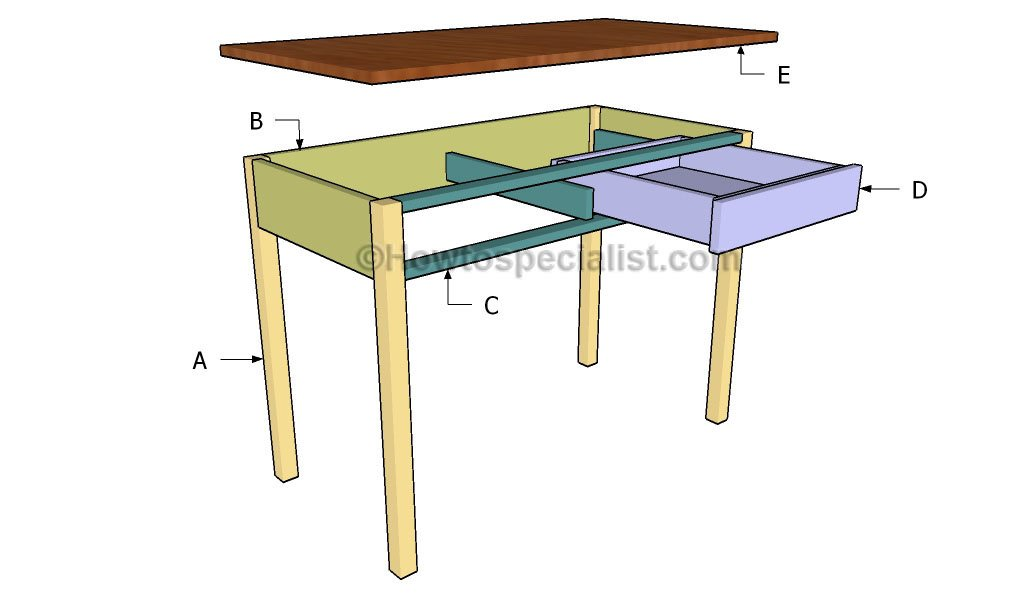 ... desk plans | HowToSpecialist - How to Build, Step by Step DIY Plans